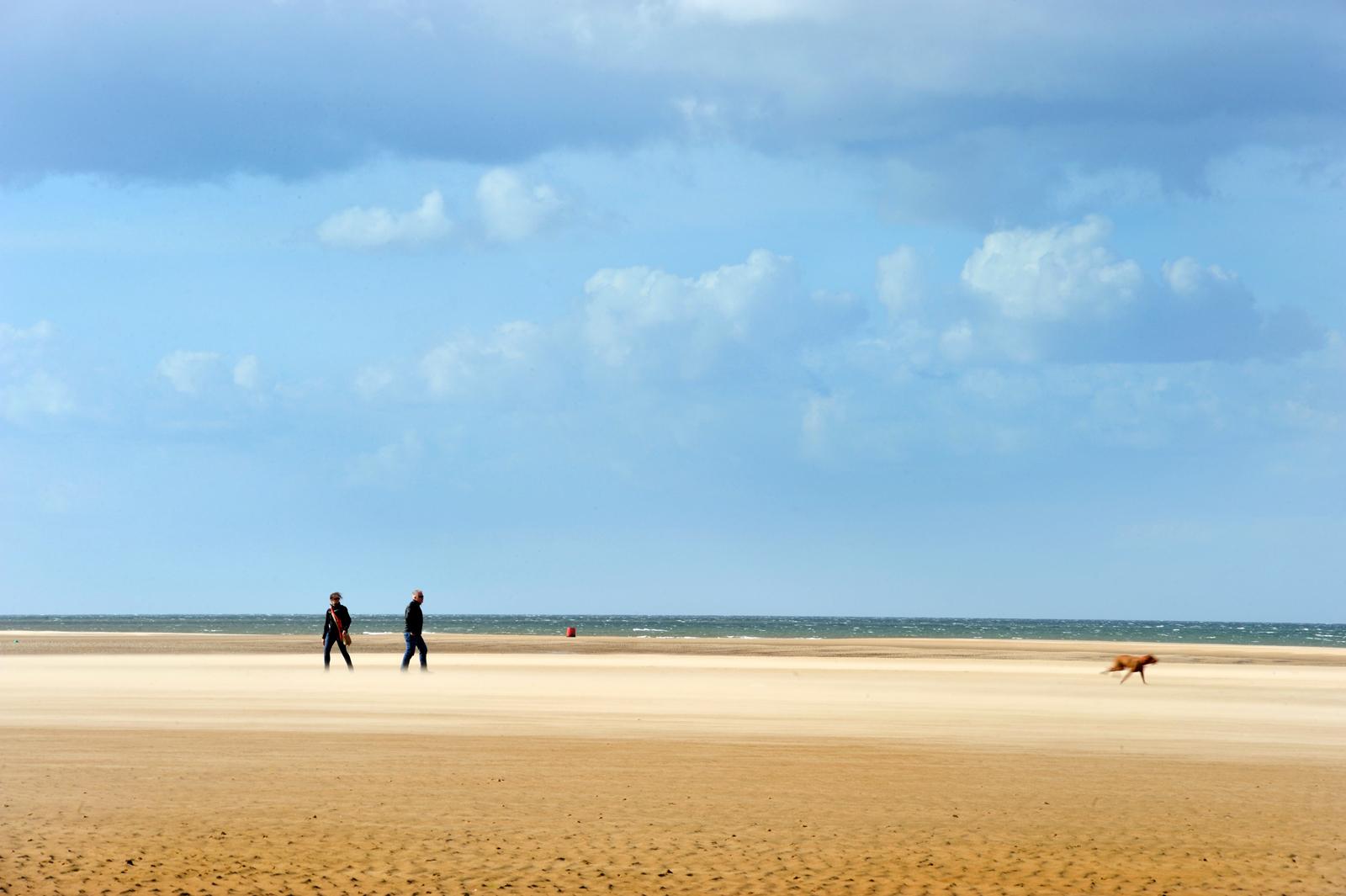 A couple walking their dog on the beach near Burnham Overy Staithe, Norfolk, UK